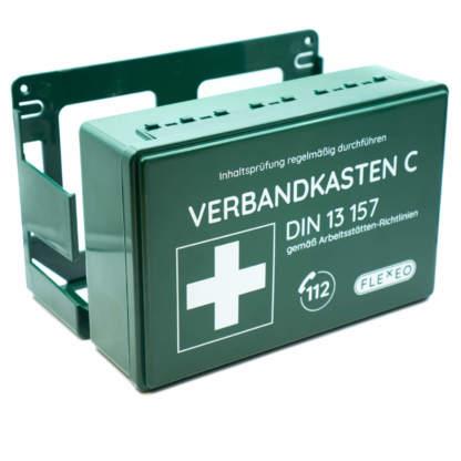 Betriebsverbandkasten grün DIN 13157 mit Wandhalterung