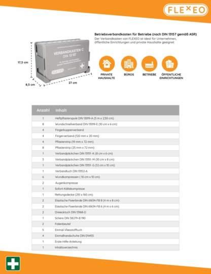 Betriebsverbandkasten DIN 13157 Inhaltsverzeichnis