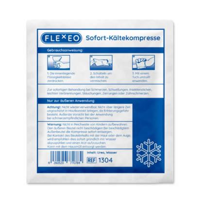FLEXEO Sofort-Kältekompresse - Ansicht der Rückseite inkl. Gebrauchsanweisung