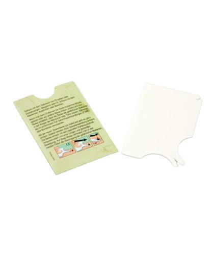Zeckenkarte inklusive Kurzbeschreibung auf der Verpackung