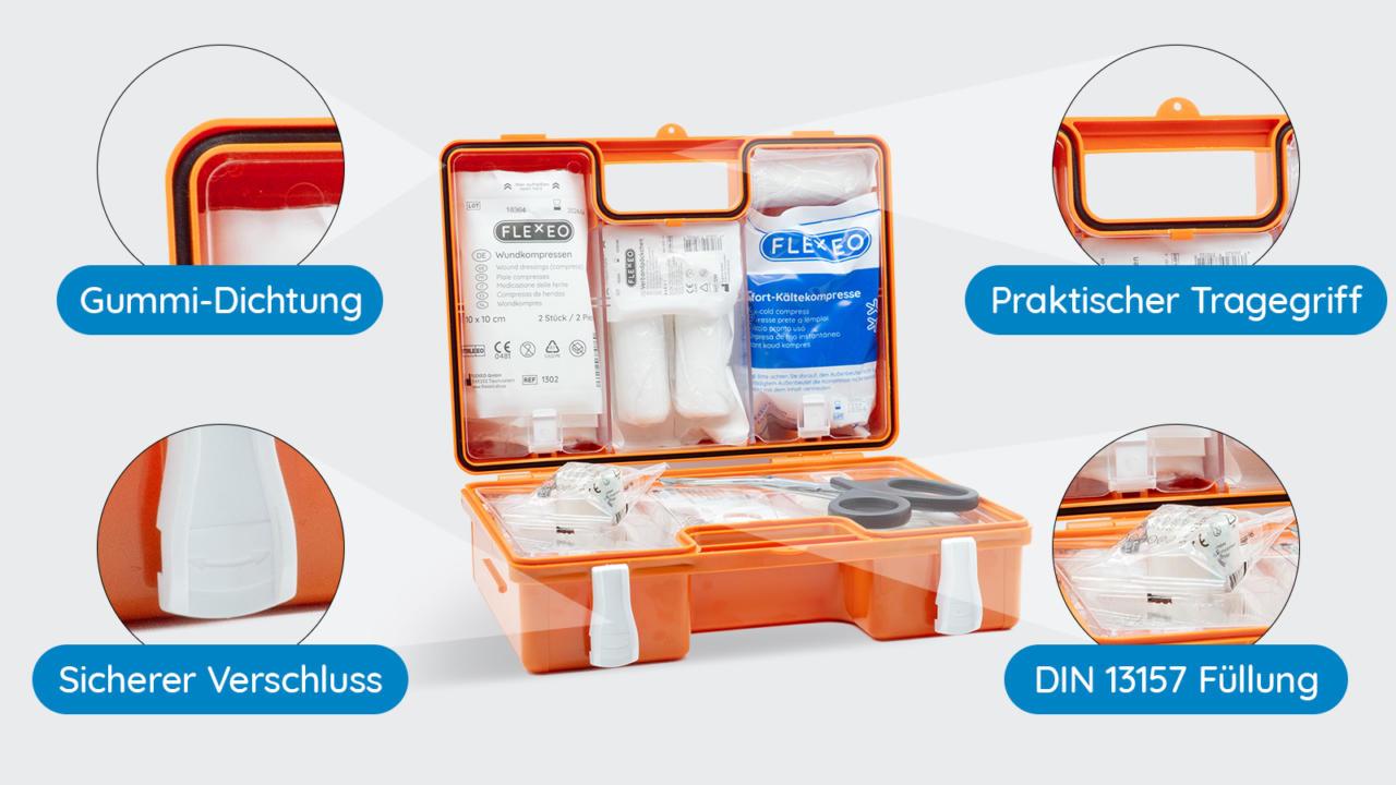 Erste Hilfe Koffer DIN 13157 Eigenschaften